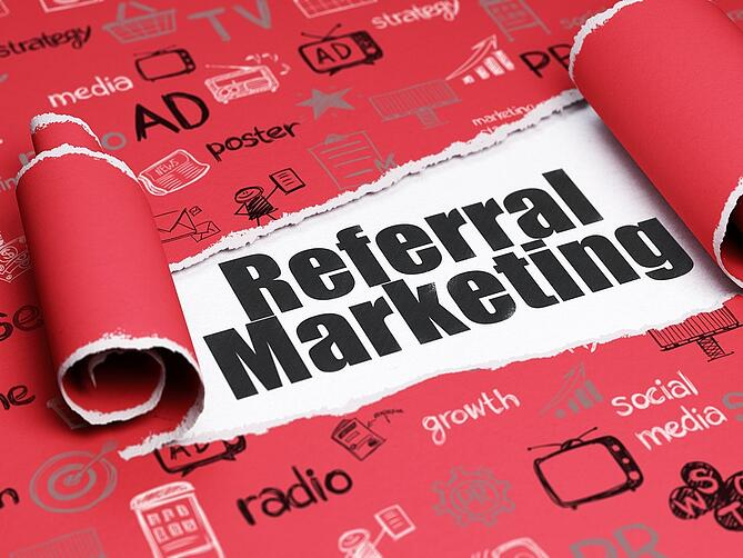 Advertising concept: black text Referral Marketing under the pie