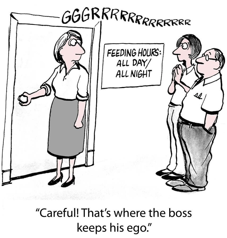 """comic """"Careful! That's where the boss keeps hi ego."""""""