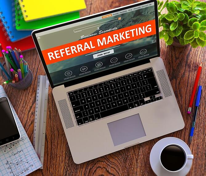 Referral Marketing. Online Working Concept.