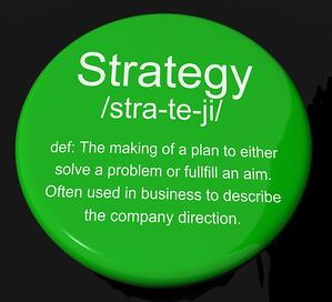 Strategy Definition Button Showing Planning Organization And Lea