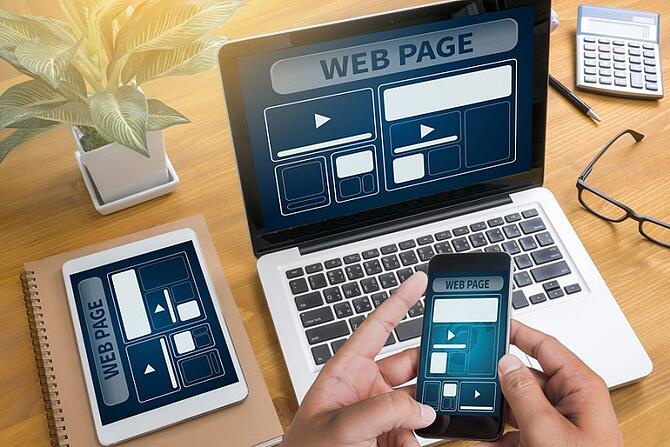 Web Design Template And  Web Page Closeup Shot Of Laptop With Di