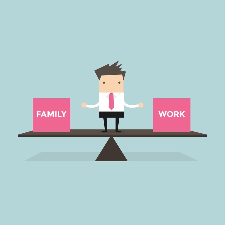 Businessman standing balance life with family and work