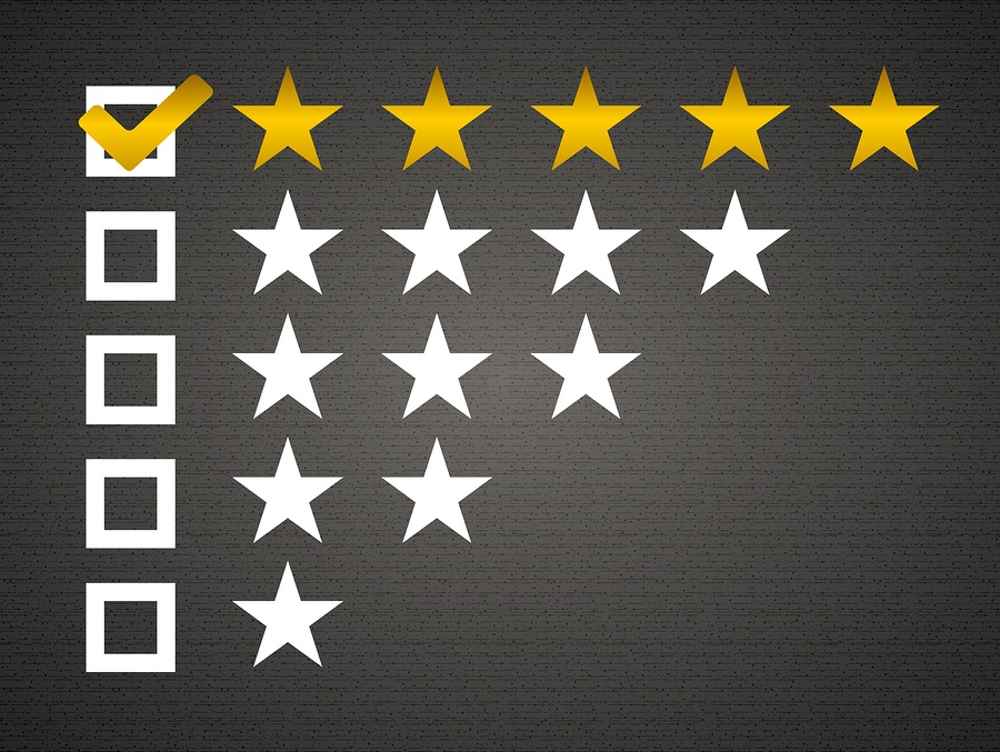 Five matted yellow web button stars ratings with reflection. Bla