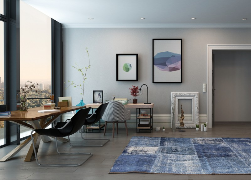 Open Concept Home Office Space with Eclectic Furnishings in Mode